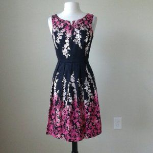 NEW WHBM Fit & Flare Pink Floral Ombre Dress